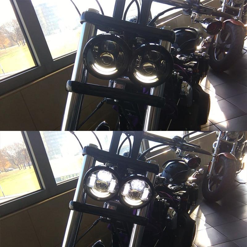 FADUIES 1pair Motorcykel 4.5Inch h4 Hög / Halvljus Med DRL Fat Bob - Motorcykel tillbehör och delar - Foto 3