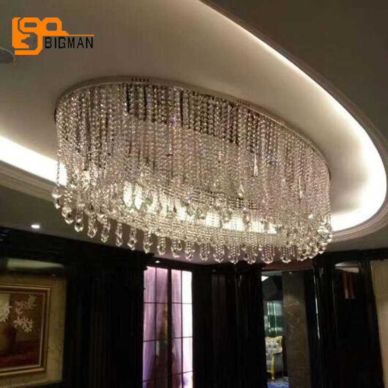 New Design Large Crystal Chandeliers Modern LED Lampe L120 W70 H60cm Lustres Living Room Lights Hotel