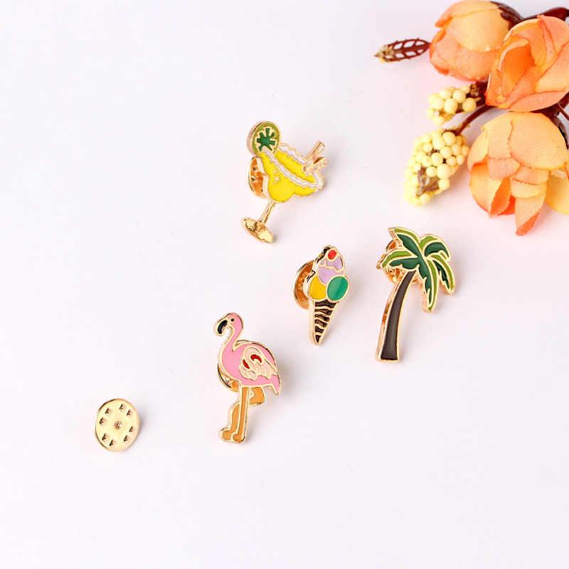 9 Stil Cartoon eis brille flamingo anlage saft kaffee Pin Kreative Abzeichen Broschen Jacke Nadel Schmuck Geschenk mädchen
