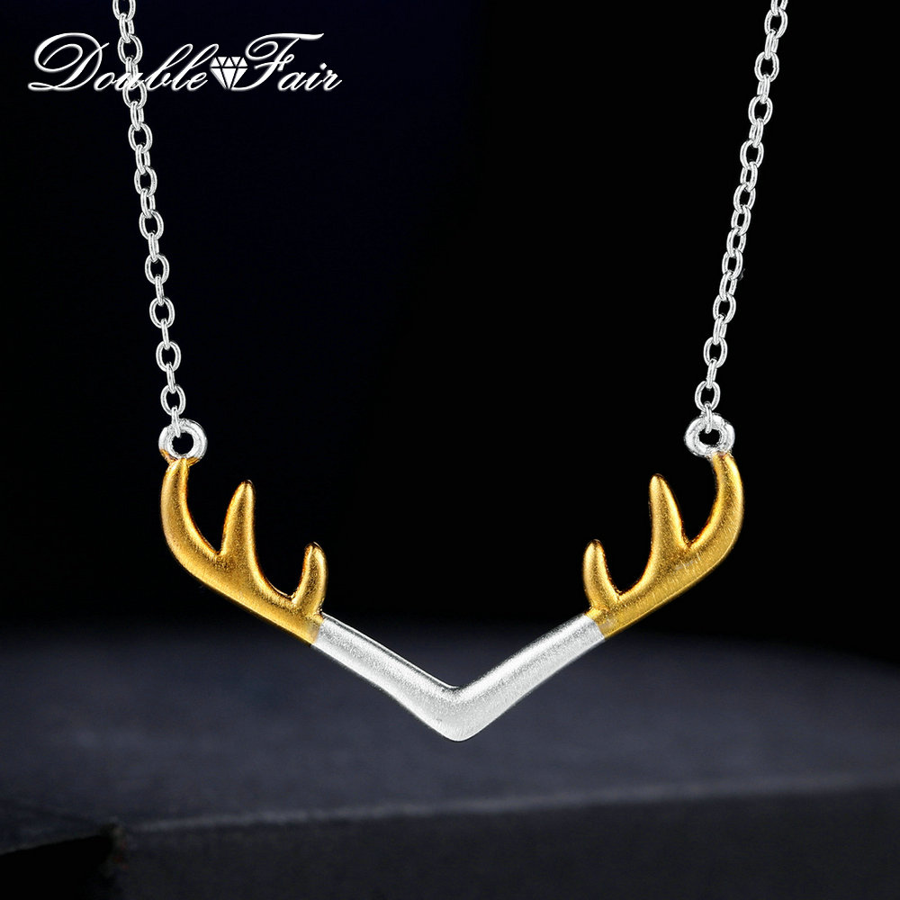 Double Fair Charm Antlers Wiredrawing 100% 925 Sterling Silver Jewelry Chain Necklace Gold & Silver For Women Cocktail DFNY014