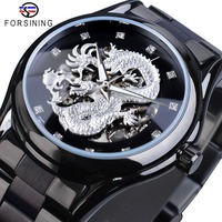 Forsining Silver Dragon Skeleton Automatic Mechanical Watches Crystal Stainless Steel Strap Wrist Watch Men's Clock Waterproof