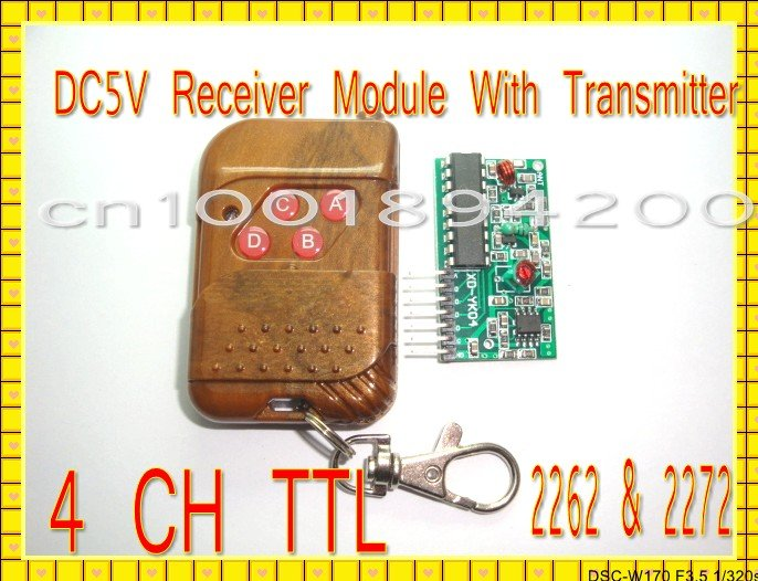 DC5V 4CH Transmitter Receiver Module Wireless Remote Control Module System IC 2262 2272 Momentery Latched 315MHZ