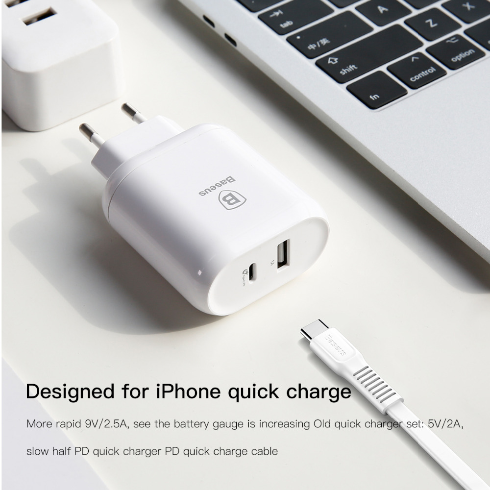 Baseus EU plug USB C Fast charger for apple MacBook Pro iPhone X 7 8 plus Charging socket Universal phone tablet Type-c PD cable