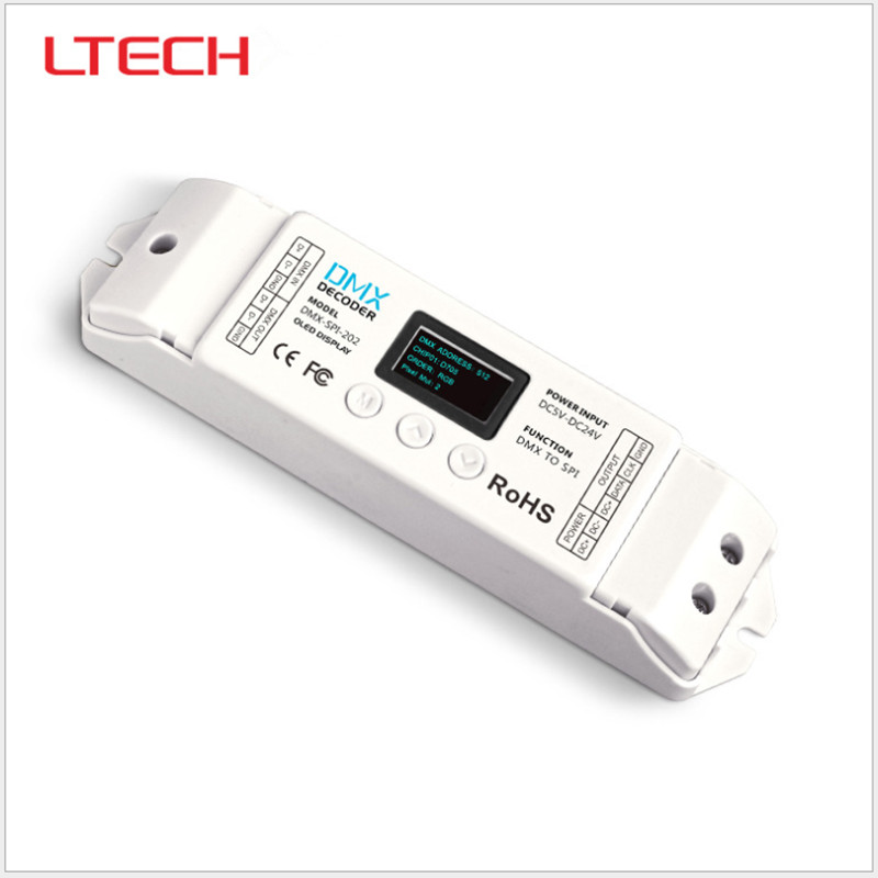 LTECH DMX-SPI-202;DMX-SPI Decoder;16 modes;support WS2801/WS2811/WS2812/WS2812B/TM1804/TM1809/INK1003/1903.etc IC Free Shipping ltech lt dmx 1809 dmx decoder dmx spi signal convertor support tm1804 tm1809 ws2811 ws2812b for led strip