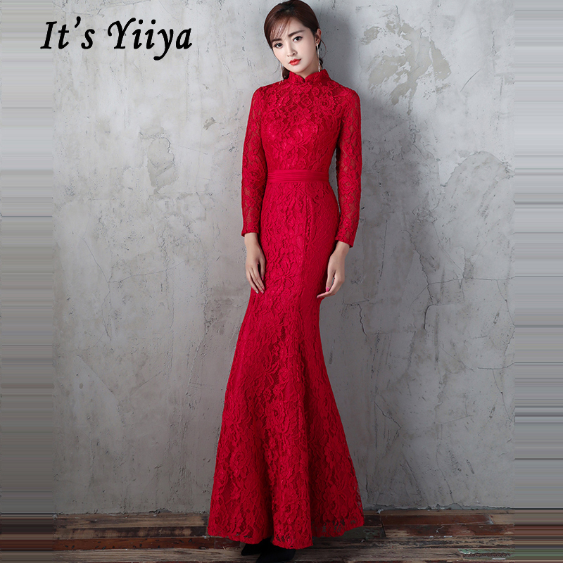 Robe De Soiree 2019 Formal Red Standing Collar Long Evening Dress Full Sleeve Floral Sexy Lace Women Party Dress Plus Size E460