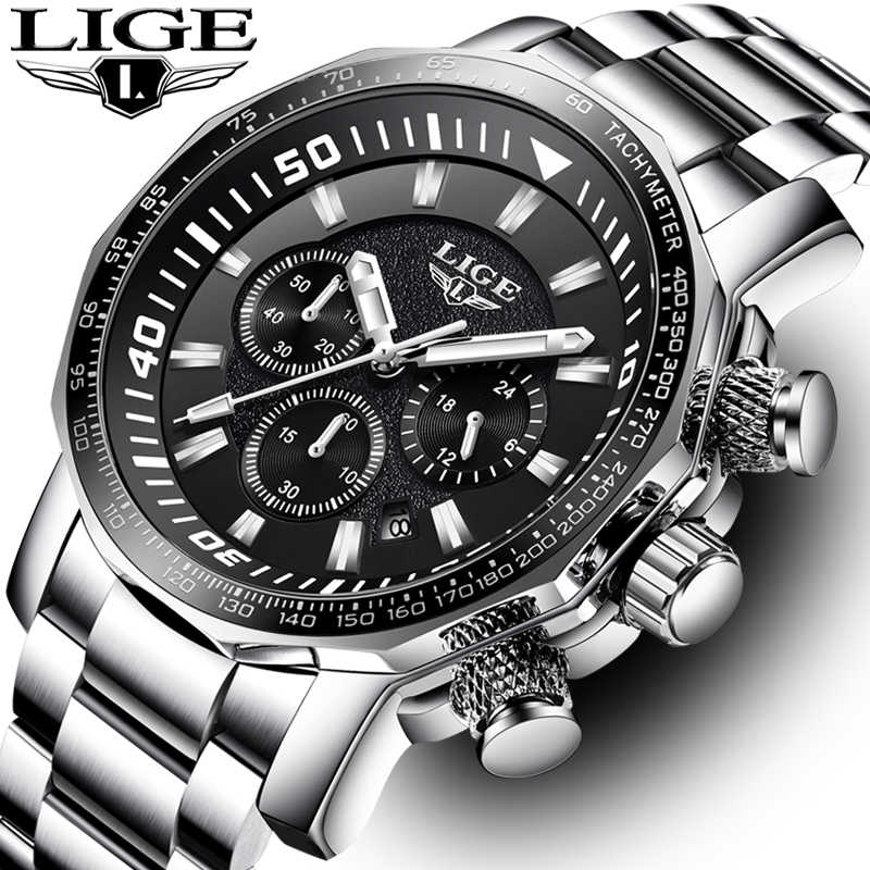 LIGE Mens Watches Top Brand Luxury Fashion Business Watch Men Stainless Steel Quartz Clock Waterproof Watch Relogio Masculino