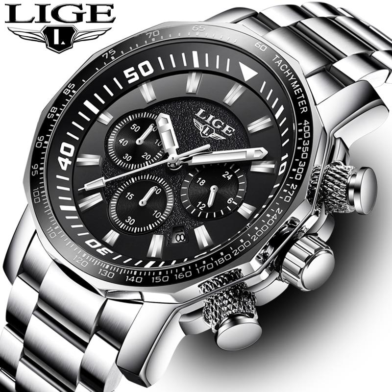 LIGE hommes montres Top marque de luxe mode affaires montre hommes en acier inoxydable Quartz horloge étanche montre Relogio Masculino