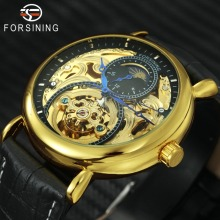 FORSINING Top Brand Luxury Auto Mechanical Watch Men Sun Moon Display Golden Skeleton Dial Royal Fashion Leather Wristwatches цены онлайн