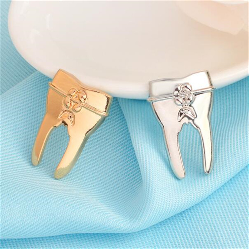 New Metal Teeth Badge Golden Silver Dentist Gift Decoration Backpack Shirt Denim Jacket Brooch Accessories Jewelry Craft Arts,crafts & Sewing Home & Garden