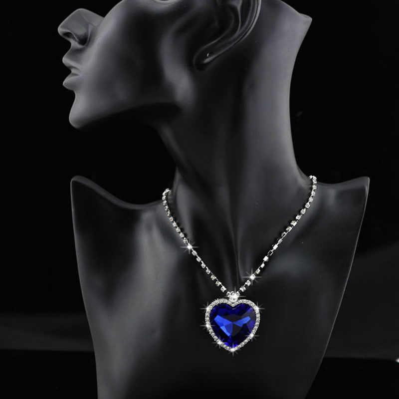 fashion Necklace Earrings darkblue Austrian Crystal rhinestones ocean blue heart Pendant women Jewelry sets k148
