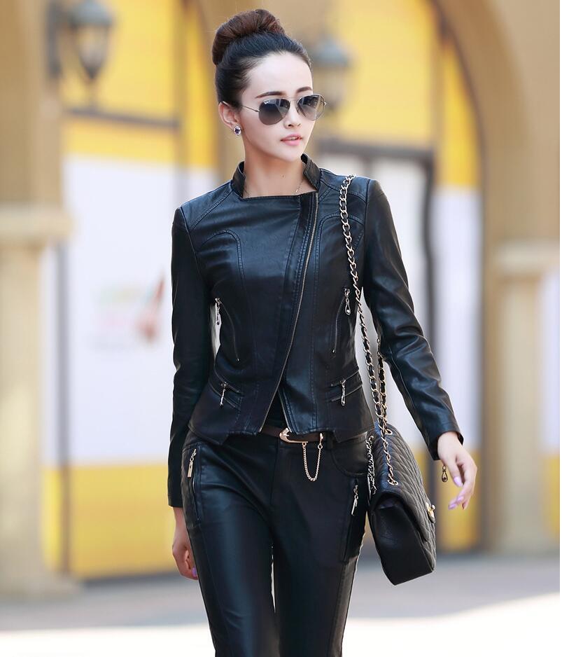2019 Height quality Plus Size XXXXXL Spring Autumn Women black short   Leather   Jackets Coats Women's jacket and coat Ladies coats