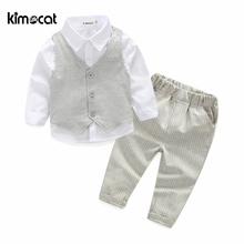 Kimocat high quality Kids Clothing Sets Boys Autumn and Spring 3pcs baby clothing England Style Cotton baby boy Shirt+Vest+pants