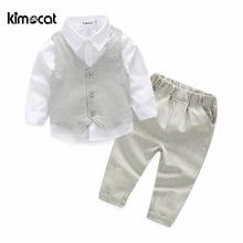Kimocat wysokiej jakości zestawy ubrań dla dzieci chłopcy jesień i wiosna 3 szt. Odzież dla dzieci styl angielski bawełna baby boy Shirt + kamizelka + spodnie