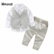 Kimocat yüksek kaliteli çocuk giyim setleri erkek sonbahar ve bahar 3 adet bebek giyim İngiltere tarzı pamuk erkek bebek gömlek + yelek + pantolon