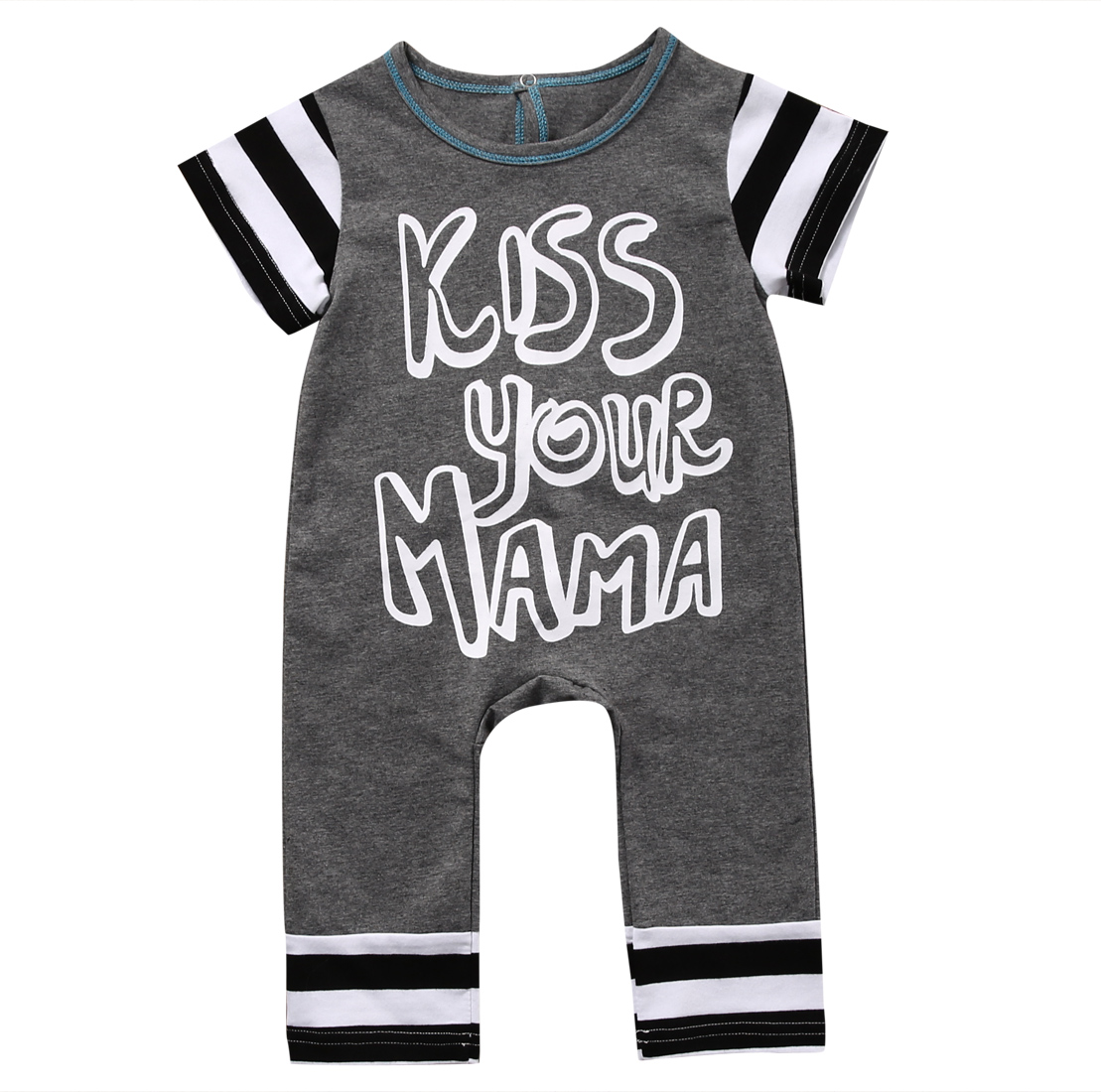 Kiss Your Mama Newborn Baby Romper 2017 Summer Short Sleeve Bebes Cotton Rompers Jumpsuit Outfit Toddler Kids Casual Suit 0-18M baby rompers baby clothing fashion summer cotton infant jumpsuit newborn long sleeve girl boys rompers costumes bebes romper