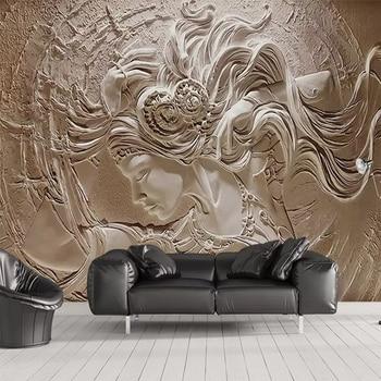 European 3D Embossed Beauty Mural Personalized Custom Photo Wallpaper Living Room TV Background Mon-woven Waterproof