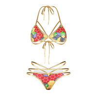 Sexy Halter Bikini Set Brazilian Retro Bohemia Biquini Swimwear Bodycon 2018 Women Swim Suit Push Up