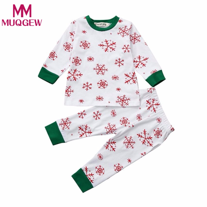 MUQGEW 2018 Newborn baby red snow floral print boys girls sets long sleeve top+pants baby infant set Kids Outfits
