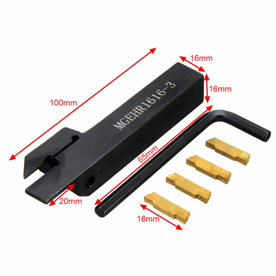 4pcs MGMN300 Carbide Inserts + 1pc MGEHR1616-3 Tool Holder Boring Bar with Wrench For CNC Lathe Tool