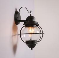 Loft Industrial Wrought Iron Wall Light Transparent Glass Wall Lights Art Museum Concept Decoration Wall Lighting
