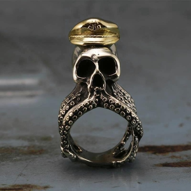 STAINLESS STEEL OCTOPUS SKULL RINGS