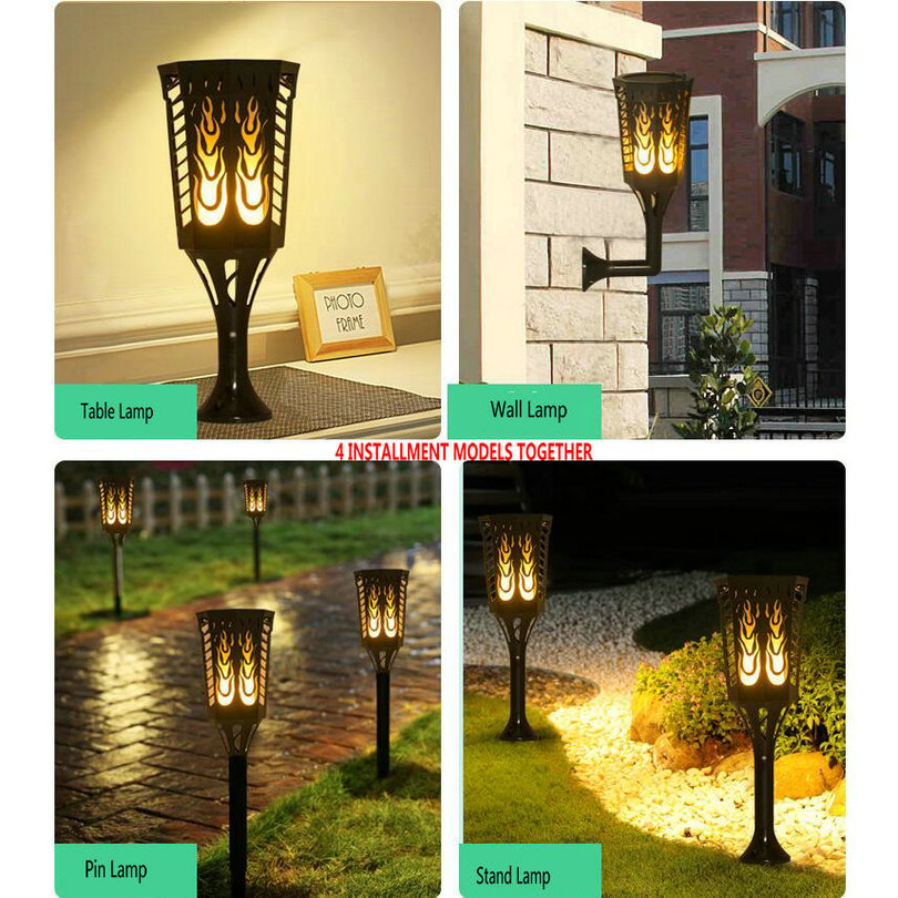 HQ OL1 Table/Wall/Pin/Stand Lamp 4Models Waterproof Solar LED Flame Effect Lamp Light Outdoor Decoration Garden Lamp Light