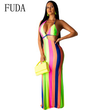 FUDA Elegant Striped Halter Maxi Dress Summer Sleeveless Open Back Skinny Dress Women Night Party Club Vestidos Retro Dresses
