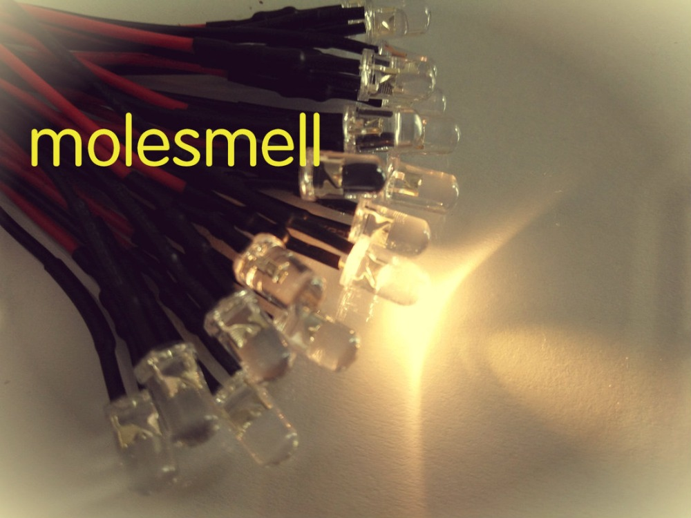 1000pcs 5mm Warm White 12V DC Pre-Wired Water Clear Bright LED Round Leds Light Bulb 20CM Led Lamp