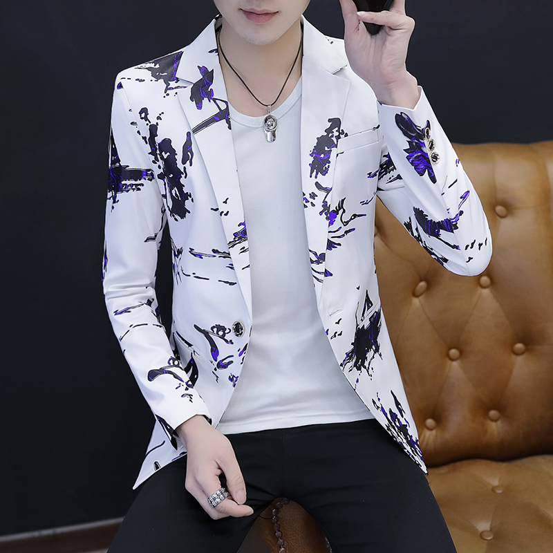 2019 Men On The New Blazer Flow Youth Thin Blazer Cultivate One's Morality Handsome Printed Blazer