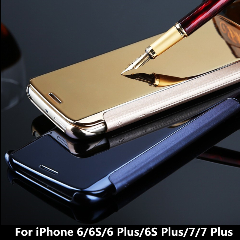 For iPhone 6 6s plus 7 plus Hybrid Leather +Hard Plastic Flip Plating Case Smart View Clear Mirror Screen Case back Cover case
