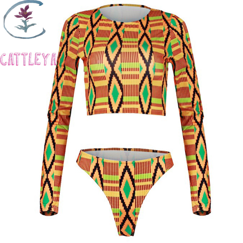 CATTLEYA 2017 Orange Printed Swimwear Sports Long Sleeve Swimsuit Women Tie Dye Bikini Sexy High Neck Bikinis Set Crop Bikini