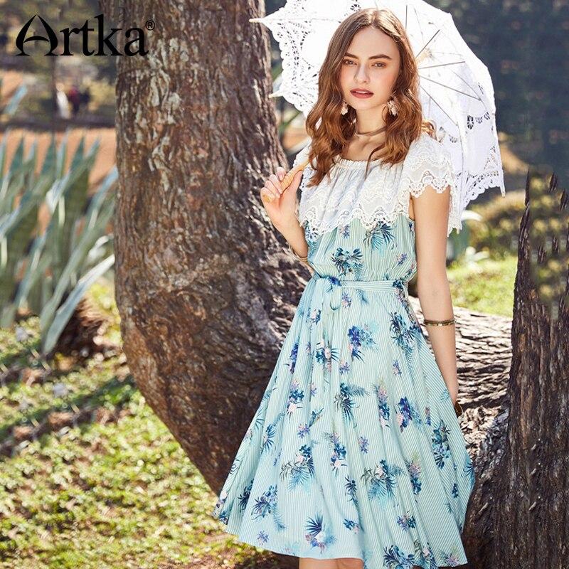 Artka 2018 여름 새 여자 빈티지 자 수 스트라이프 인쇄 두 착용 슬래시 목 높은 허리 빅 스윙 드레스 sashes la11087x-에서드레스부터 여성 의류 의  그룹 1