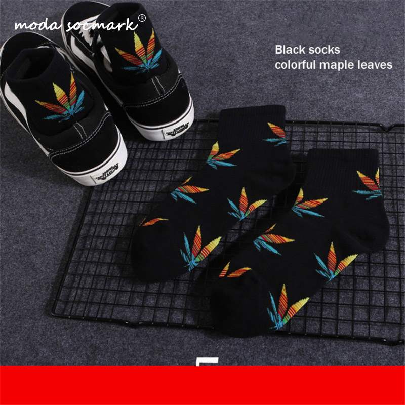 Moda Socmark Men's Socks New Maple Leaf Long Socks Cotton Skateboard Hemp Leaves Socks Trend Korean Street Harajuku Sports Socks