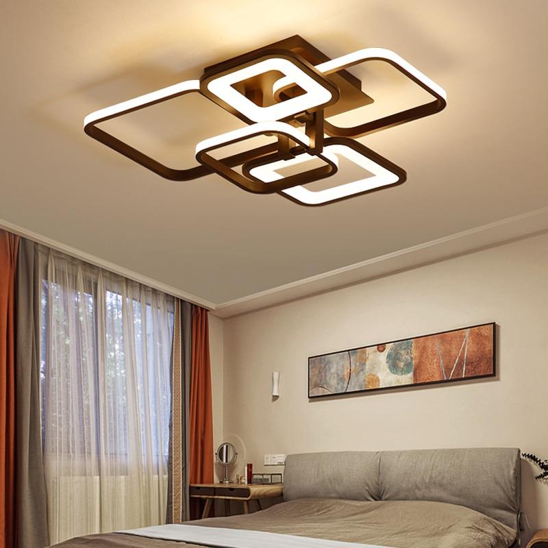 Rectangle Modern led ceiling lights For Living room Bedroom study room white coffee finished home deco ceiling lamp in Ceiling Lights from Lights Lighting