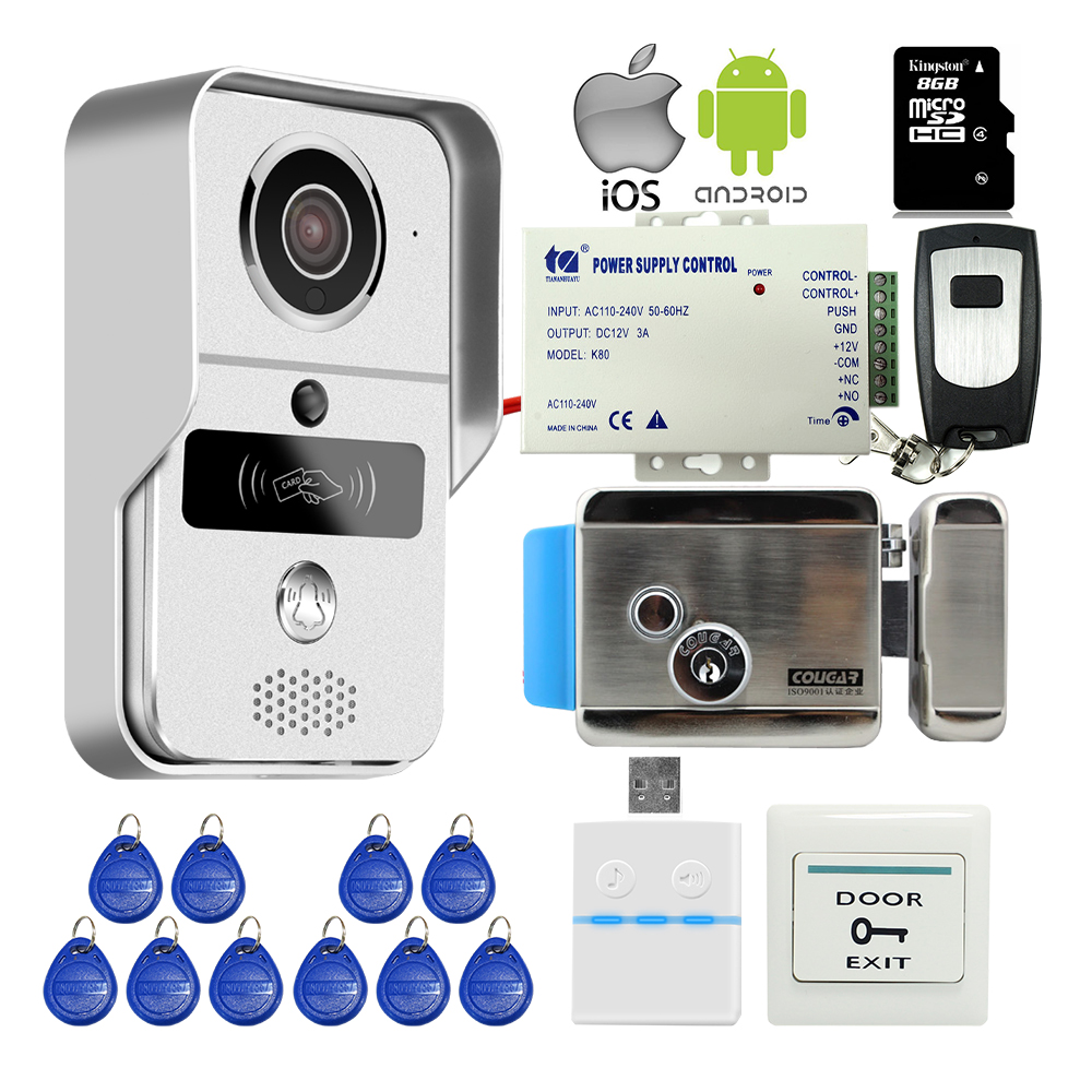 Free Shipping Wireless Wifi IP RFID Doorbell Camera Video Intercom for Android IOS Phone Remote Unlock + 8G TF + Electric Lock jcsmarts rfid access wireless wifi ip doorbell camera video intercom for android ios smartphone remote view unlock with sd card