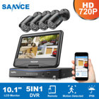 SANNCE 8CH 8 Channel 10.1 inch Displayer 1080N Video Security System Hard Drive and 4PCS 1MP Weatherproof Bullet Cameras