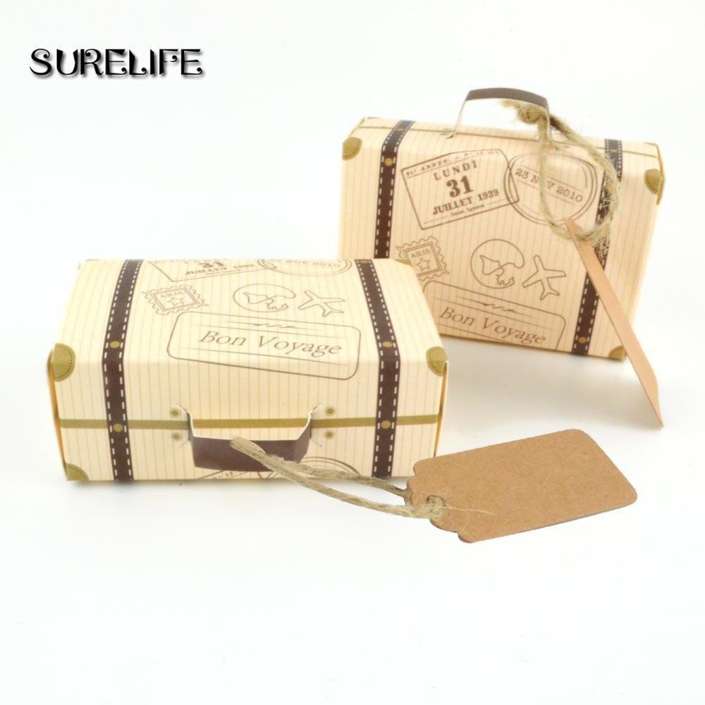 50pcs Bon Voyage Kraft Paper Candy Box Travel Theme Retro Suitcase DIY Wedding Favor Candy Holder Bags Gifts Boxs Party Supplies