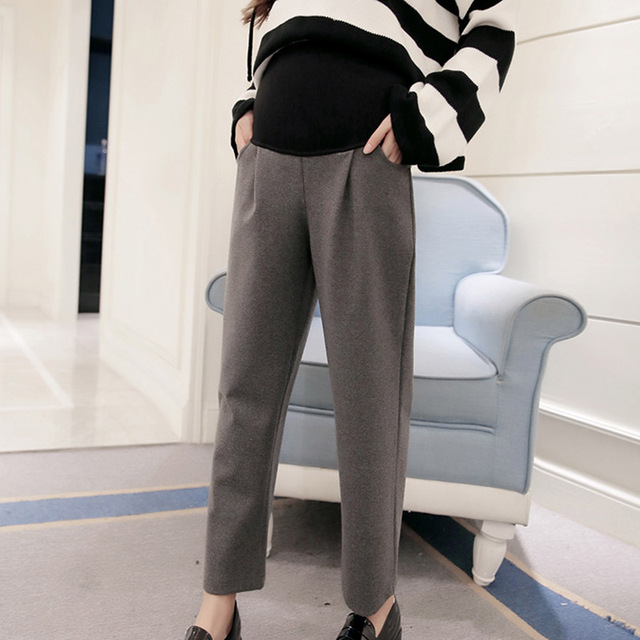Autumn and Winter Maternity Pants Elastic Waist Pregnancy Nine Pants Pregnant Women Loose Wide Leg Trousers