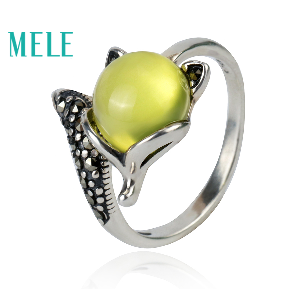 Natural yellow prehnite 925 sterling silver rings for women and man,9mm Round cut gemstone vintage cute fox Statement JewelryNatural yellow prehnite 925 sterling silver rings for women and man,9mm Round cut gemstone vintage cute fox Statement Jewelry