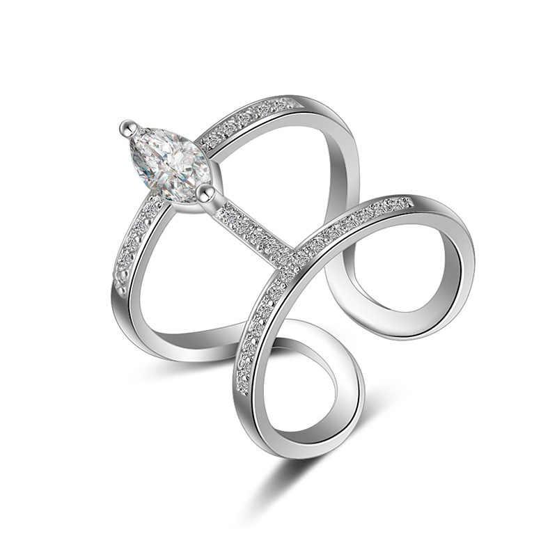 2017 جديد وصول الساخن بيع الأزياء لامعة تشيكوسلوفاكيا الزركون خاتم الإناث 925 الفضة الاسترليني ladies'finger خواتم النساء مجوهرات هدية رخيصة