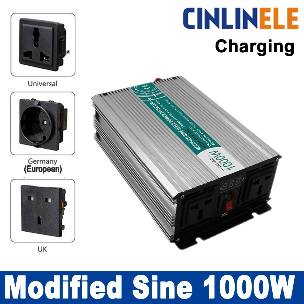 цена на Smart inverter Charger 1000W Modified Sine Wave Inverter CLM1000A DC 12V 24V 48V to AC 110V 220V 1000W Surge Power 2000W