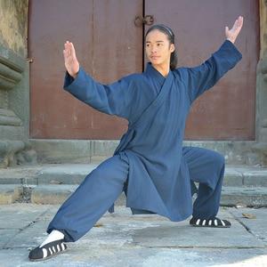 Image 2 - wudang Taoist kungfu uniform tai chi robe shaolin Buddhist monk robes kungfu linen set wushu martial arts suit clothing