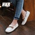 HKR 2017 spring women flats woman handmade ostrich soft leather flats shoes moccasins cowhide flexible ballerina flats QS051