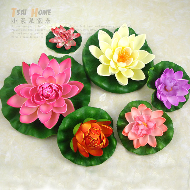 Artificial flower spatterdock lotus silk flowers artificial flower artificial flower spatterdock lotus silk flowers artificial flower home fish pond decoration plastic flower mightylinksfo Images