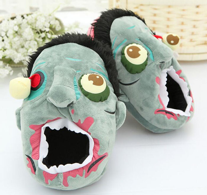 27CM Zombie Slippers Cosplay Costumes Punk Zombie Flavors Home Shoes  Unisex Plush Slipper Halloween Gifts