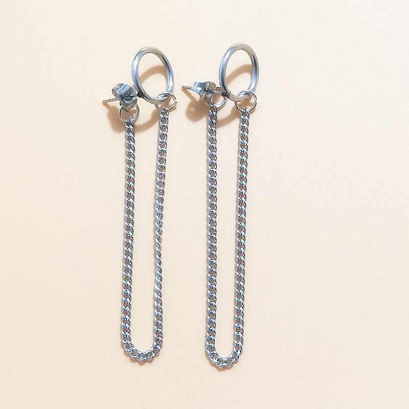 Pendientes Mujer Moda 2019 קוריאני תכשיטים גיאומטרי ארוך טאסל עגילים לנשים Brincos Kpop עגילי גברים