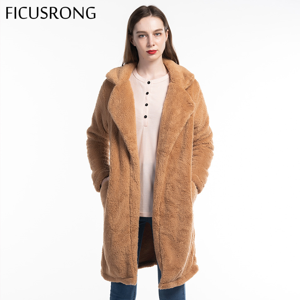 2019 Autumn Winter Warm Soft Fur Jacket Female Plush Overcoat Pocket Long Faux Fur Coat Women Casual Teddy Outwear FICUSRONG