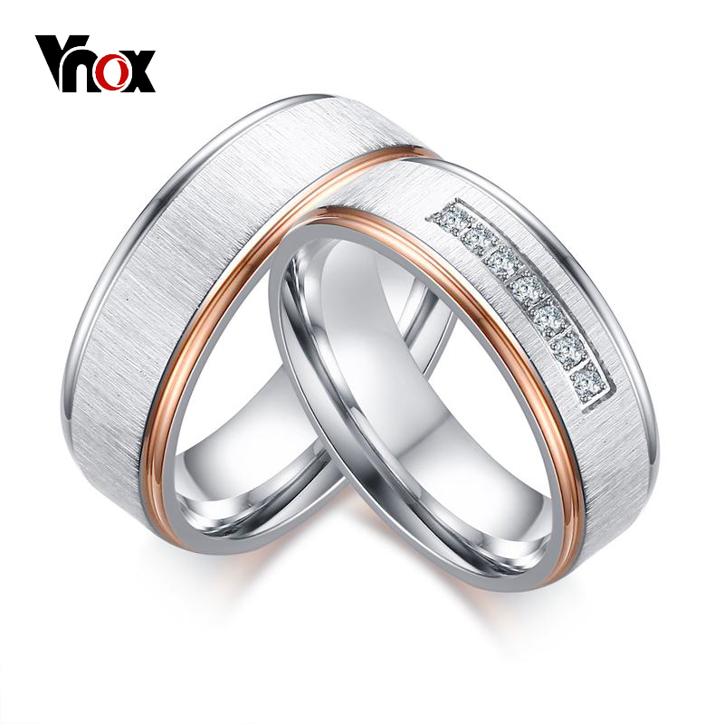 Vnox Matt Surface Wedding Rings for Women Men CZ Stones Silver & Rose Gold-color Stainless Steel Couple Ring Wedding Jewelry