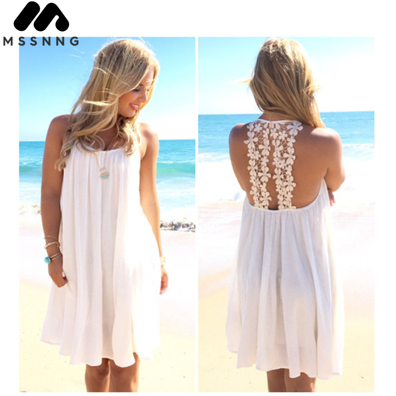 MSSNNG Summer Beach Drees Women Lace Solid Color Chiffon Shirt for Girls Beachwear Summer Swimsuit Cover Up Sexy Dress