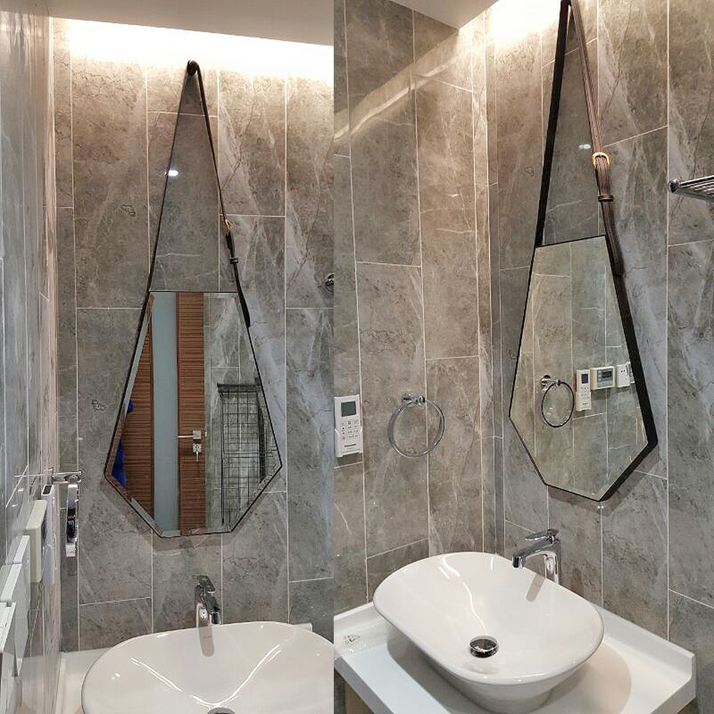 Six sided diamond leather decorative mirror wall hanging simple entrance mirror washbasin bathroom makeup mirror Nordic LO611555|Bath Mirrors|   - AliExpress